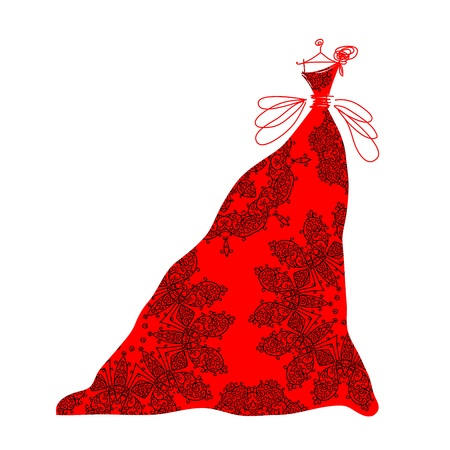 16683358 - sketch of ornamental red dress for your design